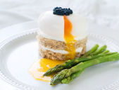 Bread with egg with asparagus — Stock Photo