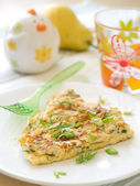 Omelet with fresh herbs — Stock Photo