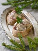 Tartine con prosciutto — Foto Stock
