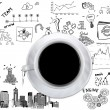 Cup of coffee on background of business strategy — Stock Photo