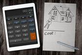 Home construction cost calculator — Stock Photo