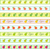 Ribbons with apples — Stock Vector