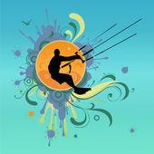Retro kite surf vector illustration — Stock Vector