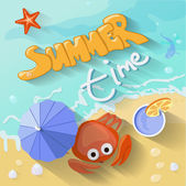 Summer time poster. Vector illustration with Sea, sun, — Stock Vector