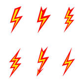 Vector lightning colored silhouettes on white background  icon set — Stock Vector