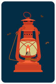 Red kerosene lantern — Stock Vector