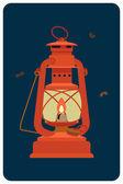 Red kerosene lantern — Stock Vector