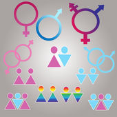 Vector symbols set of sexual orientation and gender — Stock Vector