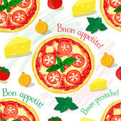 Vector seamless pattern italian pizza — Vettoriale Stock
