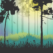 Vector illustration of green forest — Vector de stock
