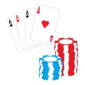 Pokerchips und poker-asse-vektor — Stockvektor