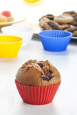 Muffin tins and blueberry muffin — Stock Photo