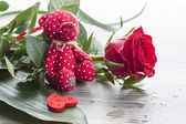 Red rose bouquet with red Teddy bear — Stock Photo