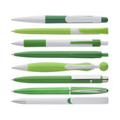 Green pens collection, with PS path — Stock Photo