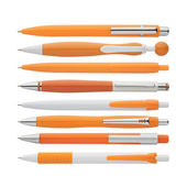 Orange pens collection, with PS path — Stock Photo