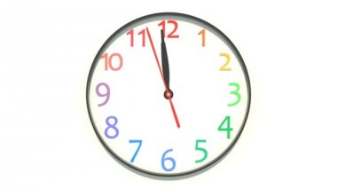 Clock showing the noon — Stock Video