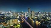Bangkok,The city of river at Night (Chaophraya River, Thailand) — Stock Photo