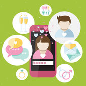 Pink phone with dating icons — Vector de stock