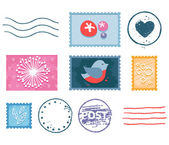 Postal stamp set — Stock Vector