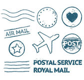 Postal mail stamp set — Vector de stock