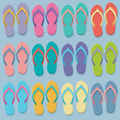 Big set of colorful flip flops — Vecteur