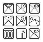 набор иконок электронной почты — Cтоковый вектор
