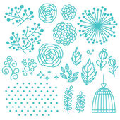 Floral elements set — Stock Vector
