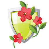 Shield with plant — Stock Vector