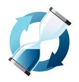 Blue hourglass — Stock Vector