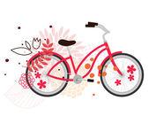 красный велосипед — Cтоковый вектор