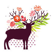 Floral deer — Stock Vector