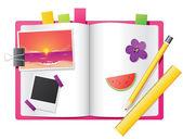 Girl's diary — Stock Vector