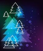Christmas card with fir trees — Cтоковый вектор