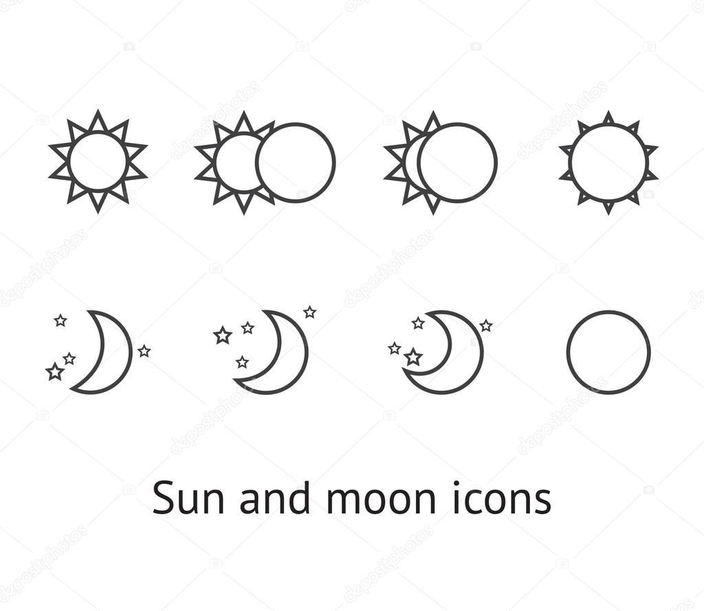 套上白色的太阳和月亮图标 — 矢量图片作者 korinoxe