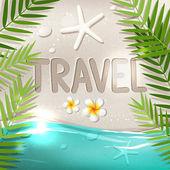 Travel word on tropical beach — Stock Vector