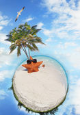 Beach holiday scene — Stock Photo