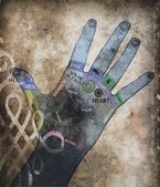 Chakra hand - healing energy — Stock Photo