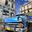 Blue vintage car in havana street — Stock Photo #48507259