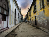 Havana street with eroded buildings — Stock Photo