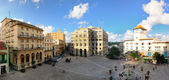 Panoramic view of Old Havana plaza and fountain. NOV 2008 — Zdjęcie stockowe