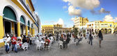 Havana outdoor cafe panorama, november 2008 — Stock Photo