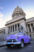 Old car in havana capitol — Stock Photo