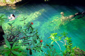 Tropical green waterfall pond at escambray, cuba — Stock Photo