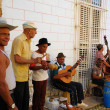 Group of traditional musicians playing in Trinidad street, cuba. OCT 2008 — Stockfoto