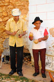 Senior musicians playing in the street of Trinidad, cuba. OCT 2008 — Stockfoto