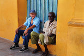 Two senior men in Trinidad street, cuba. OCT 2008 — Stok fotoğraf