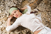 Reclining fashion woman — Stock Photo