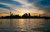 Toronto city skyline at sunset — Stock Photo