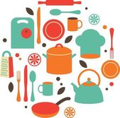 Kitchen flat icons — Stock Vector