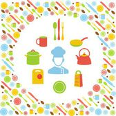 Kitchen concept with icons background — Stock Vector